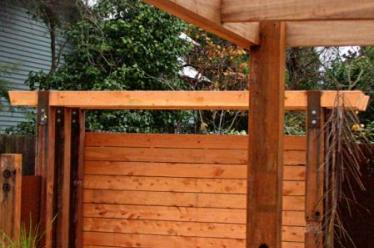 Deck and recycled hardwood pergola