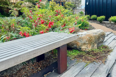 Slat bench seat and native planting