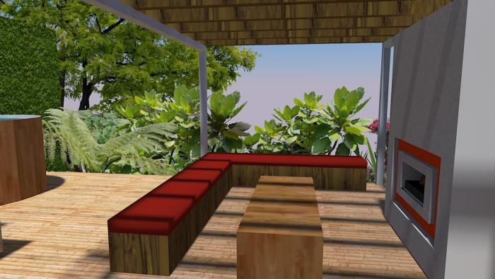 Outdoor fire and entertainment area concept