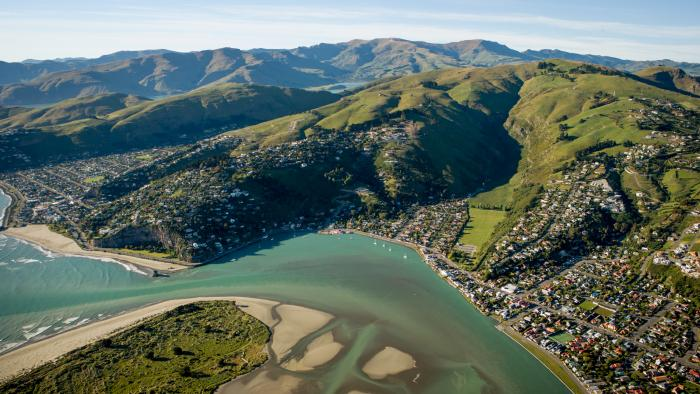The Port Hills and th Estuary from the air