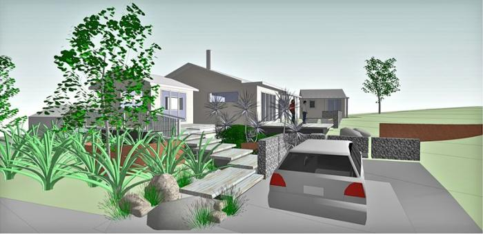 3D view of the design from the driveway