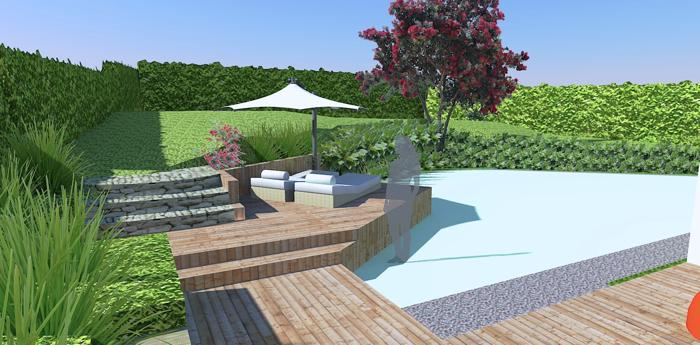 Computer rendered 3D concept plan for seat & decking garden area