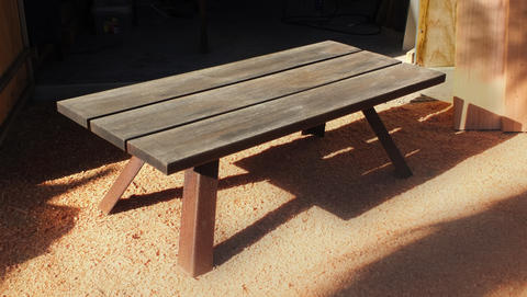 Weathered outdoor coffee table